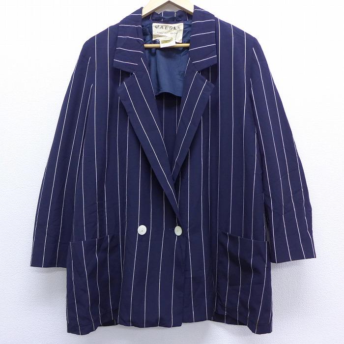 古着 レディース 長袖 テーラード ジャケット 80年代 80s イギリス製 紺 ネイビー 【spe】 20feb07 中古 アウター ジャンパー ブルゾン