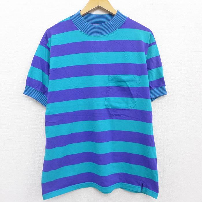 古着 レディース 半袖 ビンテージ Tシャツ 90年代 90s ウールリッチ WOOLRICH 胸ポケット付き コットン クルーネック 青緑他 ボーダー 【spe】 21apr23 中古