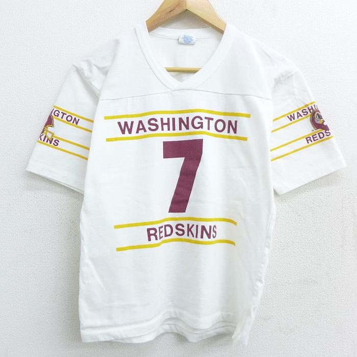 古着 半袖 ビンテージ フットボール Tシャツ レディース 80年代 80s NFL ワシントンレッドスキンズ ジョーサイズマン 7 Vネック 白 ホワイト アメフト スーパーボウル 【spe】 21jun08 中古
