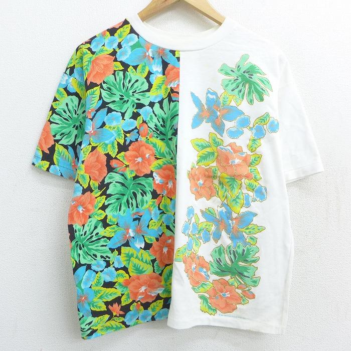 古着 半袖 ビンテージ Tシャツ レディース 90年代 90s 花 クルーネック USA製 白他 ホワイト 【spe】 21jun08 中古