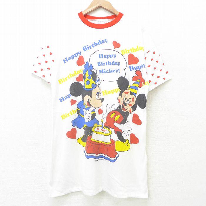 古着 半袖 ビンテージ Tシャツ ワンピース レディース 80年代 80s ディズニー DISNEY ミッキー MICKEY MOUSE ミニー ロング丈 クルーネック USA製 白 ホワイト 【spe】 21jul21 中古