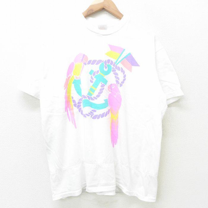 古着 チェロキー 半袖 ビンテージ Tシャツ レディース 90年代 90s オウム イカリ コットン クルーネック USA製 白 ホワイト 【spe】 21jul21 中古