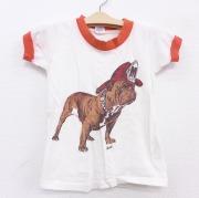 古着 半袖 ビンテージ Tシャツ キッズ 子供服 70年代 70s ミリタリー ブルドッグ コットン クルーネック 白 ホワイト リンガー 【spe】 21jun21
