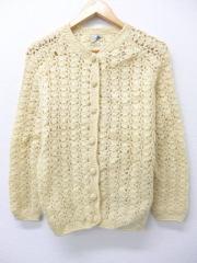 古着 レディース ニット カーディガン 70年代 手織り ウール イタリア製 生成り 【spe】 19feb14 中古 トップス