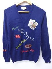 古着 レディース セーター 80年代 ラスベガス サイコロ トランプ カジノ 刺繍 紺 ネイビー 【spe】 19feb14 中古 ニット トップス