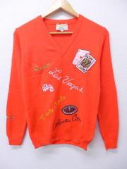古着 レディース セーター 80年代 ラスベガス サイコロ トランプ カジノ 刺繍 オレンジ 【spe】 19feb14 中古 ニット トップス