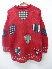 古着 レディース セーター ハート ウール 手編み 大きいサイズ 赤 レッド 【spe】 19feb20 中古 ニット トップス