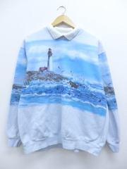 古着 レディース スウェット 90年代 海 カモメ 灯台 USA製 襟付き 水色 【spe】 19apr23 中古 スエット トレーナー トップス