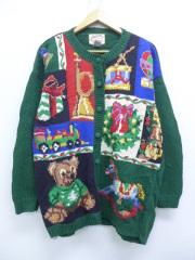 古着 レディース 長袖 ニット カーディガン 90年代 テディベア 木馬 プレゼント 大きいサイズ クルーネック 緑 グリーン 【spe】 19sep12 中古 トップス