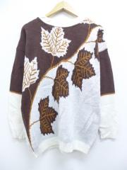 古着 レディース 長袖 セーター 80年代 葉 クルーネック USA製 茶 ブラウン 【spe】 19sep12 中古 ニット トップス