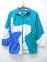 古着 レディース ナイロン ジャケット 90年代 リーボック REEBOK 青緑 【spe】 19apr19 中古 アウター ウインドブレーカー