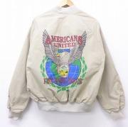 L★古着 長袖 ジャケット 90年代 90s スタジャン 湾岸戦争 ラグラン USA製 ベージュ カーキ 【spe】 20sep22 中古 メンズ アウター ジャンパー ブルゾン