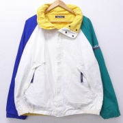 XL★古着 長袖 ブランド セーリング ジャケット 90年代 90s ノーティカ NAUTICA ロゴ リバーシブル ラグラン 大きいサイズ コットン マルチカラー 白他 ホワイト 【spe】 20sep22 中古 メンズ アウター ジャンパー ブルゾン