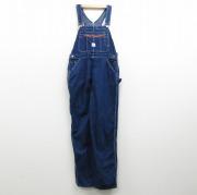 W35★古着 オーバーオール 90年代 90s ポインター コットン USA製 紺 ネイビー デニム 【spe】 20oct22 中古 メンズ ボトムス