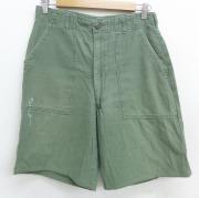 W30★古着 ショート ベイカー パンツ ショーツ 60年代 60s ミリタリー USA製 濃緑 グリーン 【spe】 21apr28 中古 メンズ ボトムス 短パン ショーパン