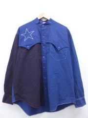 XL★古着 長袖 シャツ 星 ノーカラー 大きいサイズ 紺 ネイビー 【spe】 18nov20 中古 メンズ トップス