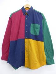 XL★古着 長袖 シャツ クレイジーパターン マルチカラー 大きいサイズ ボタンダウン 赤他 レッド 【spe】 19oct17 中古 メンズ トップス