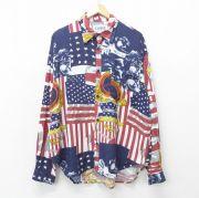 XL★古着 長袖 シャツ メンズ 90年代 90s ジャズバンド 星条旗 レーヨン USA製 紺他 ネイビー 【spe】 21oct13 中古 トップス