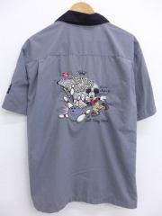 XL★古着 半袖 ボウリング シャツ ディズニー DISNEY ミッキー MICKEY MOUSE 大きいサイズ グレー 【spe】 19mar22 中古 メンズ トップス