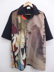 XL★古着 半袖 シャツ 浮世絵 コイ USA製 黒 ブラック 【spe】 19mar22 中古 メンズ トップス