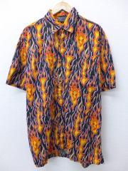 XL★古着 半袖 シャツ 90年代 ファイヤーパターン 大きいサイズ USA製 黒他 ブラック 【spe】 19jul23 中古 メンズ トップス