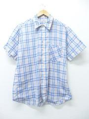 L★古着 半袖 シャツ 80年代 USA製 薄紺 ネイビー オーバー チェック 【spe】 19aug20 中古 メンズ トップス
