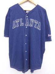 XL★古着 半袖 ベースボール シャツ 90年代 MLB アトランタブレーブス 刺繍 大きいサイズ USA製 紺 ネイビー メジャーリーグ ベースボール 野球 ユニフォーム 【spe】 19aug20 中古 メンズ トップス