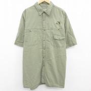 XL★古着 半袖 シャツ レッドヘッド 魚 刺繍 大きいサイズ コットン ロング丈 緑 グリーン 【spe】 21apr28 中古 メンズ トップス