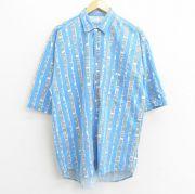XL★古着 半袖 シャツ メンズ 80年代 80s コットン 青他 ブルー ストライプ 【spe】 21jul29 中古 トップス