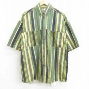XL★古着 半袖 シャツ メンズ 90年代 90s ボタンダウン 緑他 グリーン ストライプ 【spe】 21jul29 中古 トップス