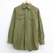 L★古着 長袖 ビンテージ ボーイスカウト シャツ 50年代 50s マチ付き 緑 グリーン 【spe】 20sep17 中古 メンズ トップス