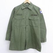 L★古着 長袖 ビンテージ ミリタリー シャツ 60年代 60s USアーミー コットン 緑 グリーン 【spe】 20sep17 中古 メンズ トップス