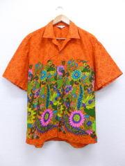XL★古着 ビンテージ ハワイアン シャツ 60年代 花 ハワイ製 オレンジ 【spe】 19jun13 中古 メンズ トップス