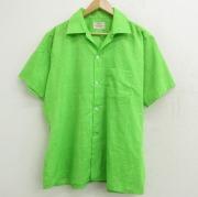 XL★古着 アロー 半袖 ビンテージ シャツ メンズ 70年代 70s 開襟 オープンカラー USA製 緑 グリーン チェック 【spe】 21jun18 中古 トップス