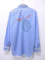 L★古着 長袖 シャンブレー シャツ 70年代 鳥 手縫い刺繍 薄紺 ネイビー 【spe】 18nov19 中古 メンズ トップス