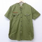 M★古着 半袖 ビンテージ ボーイスカウトシャツ 60年代 60s ノーカラー マチ付き USA製 緑 グリーン 【spe】 20jun04 中古 メンズ トップス