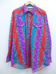 XL★古着 長袖 ウエスタン シャツ 90年代 KARMAN コットン ロング丈 大きいサイズ USA製 紫他 パープル 【spe】 19sep12 中古 メンズ トップス