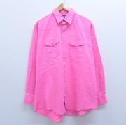 XL★古着 長袖 ウエスタン シャツ 90年代 90s ラングラー Wrangler コットン 大きいサイズ USA製 ピンク デニム 【spe】 20jan15 中古 メンズ トップス