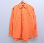 XL★古着 長袖 ウエスタン シャツ 90年代 90s ラングラー Wrangler コットン 大きいサイズ ロング丈 オレンジ デニム 【spe】 20jan15 中古 メンズ トップス