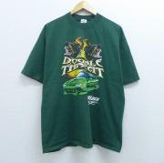 XL★古着 半袖 ビンテージ Tシャツ 90年代 90s 車 犬 コットン クルーネック USA製 緑 グリーン 【spe】 20jun04 中古 メンズ