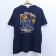 L★古着 半袖 Tシャツ 00年代 00s バイク スケルトン コットン クルーネック 黒 ブラック 【spe】 20jun04 中古 メンズ