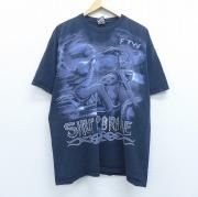 XL★古着 半袖 ビンテージ Tシャツ 00年代 00s リキッドブルー バイク スケルトン 大きいサイズ コットン クルーネック 黒 ブラック 【spe】 20jun04 中古 メンズ
