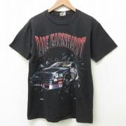 M★古着 半袖 ビンテージ Tシャツ メンズ 90年代 90s NASCAR デイルアーンハート レーシングカー 両面プリント コットン クルーネック USA製 黒 ブラック 【spe】 21jun22 中古