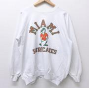 XL★古着 長袖 スウェット 80年代 80s マイアミハリケーンズ ラグラン クルーネック USA製 白 ホワイト 【spe】 20sep24 中古 メンズ スエット トレーナー トップス