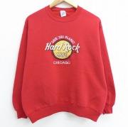 L★古着 長袖 スウェット 90年代 90s ハードロックカフェ シカゴ 刺繍 クルーネック USA製 赤 レッド 【spe】 20oct20 中古 メンズ スエット トレーナー トップス