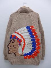 XL★古着 長袖 ニット カーディガン カウチン セーター 60年代 インディアン ウール 大きいサイズ タロン ベージュ カーキ 【spe】 19sep12 中古 メンズ トップス