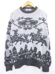 L★古着 長袖 セーター 90年代 建物 馬 クルーネック 濃グレー他 【spe】 19sep12 中古 メンズ ニット トップス