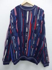 L★古着 長袖 3Dニット セーター コットン 紺 ネイビー 【spe】 19sep12 中古 メンズ ニット トップス