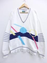 XL★古着 長袖 セーター 90年代 ロンドンフォグ コットン Vネック USA製 白 ホワイト 【spe】 19oct17 中古 メンズ ニット トップス
