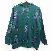XL★古着 長袖 セーター 80年代 80s アメフト クルーネック イタリア製 緑 グリーン 【spe】 20sep22 中古 メンズ ニット トップス